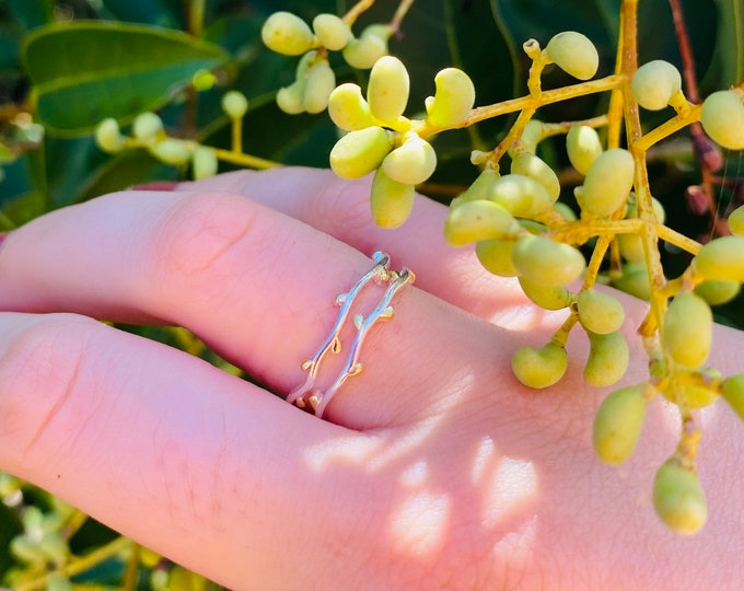 Dainty Branch Ring in sterling silver and gold • Adjustable