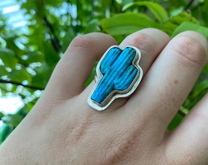 Turquoise Cactus Ring Unisex Ring size 8