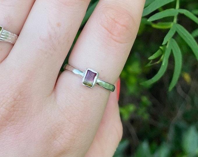 Watermelon Tourmaline Ring size 8 •sterling silver dainty tourmaline ring
