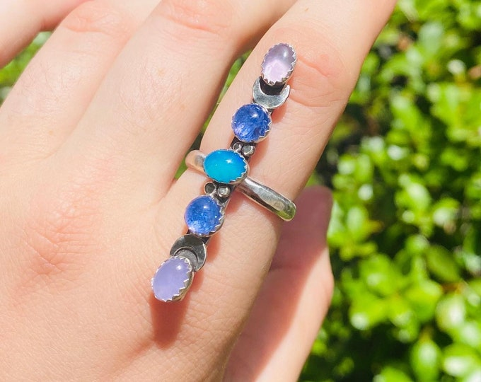 Her Sword • Amethyst, Iolite, and Blue Opal Ring • size 8
