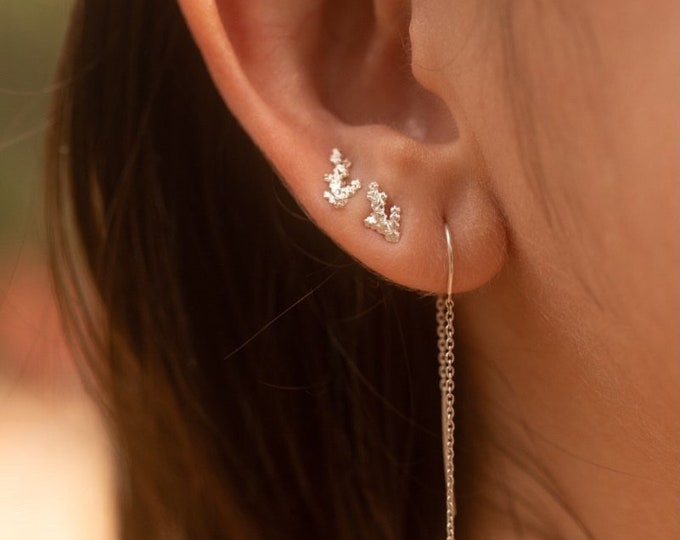 Tiny Branches sterling silver studs