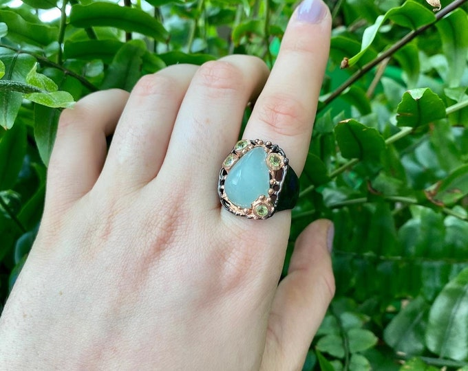 Aquamarine One of a Kind Ring size 8