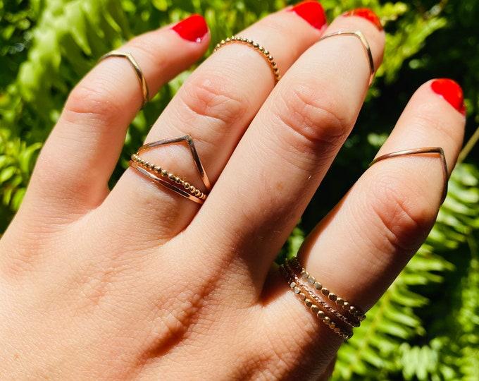 Gold Filled Stacking Rings • Gold Filled V Ring •  Gold filled beaded ring • Gold Filled Medallion Ring • Gold Filled Hammered ring • Middy