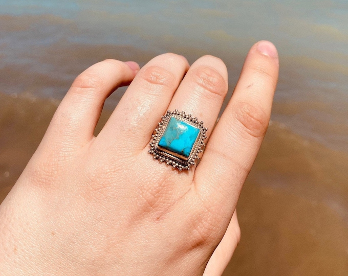Unique Framed Turquoise Ring size 8.5