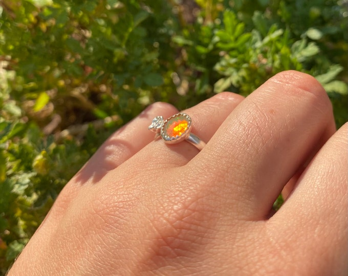 Rose Cut Welo Opal Ring with dainty Succulent  sterling silver • size 5.5