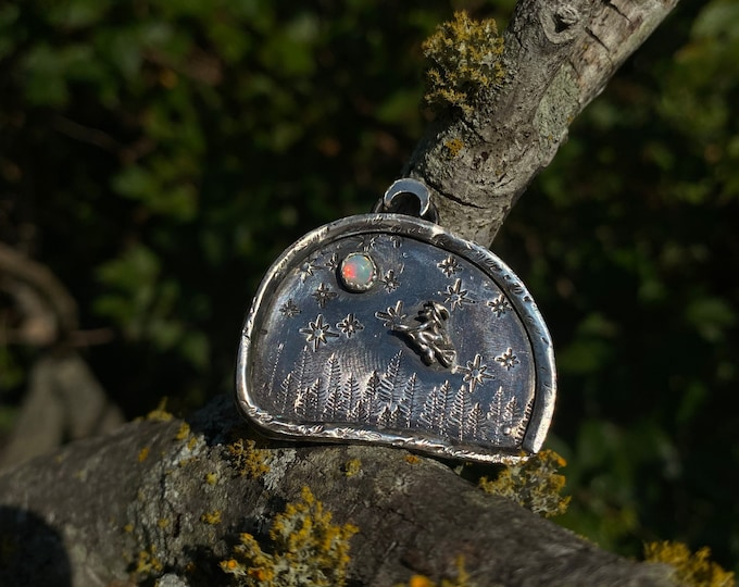 We Take Flight at Midnight • Witching Hour pendant • opal witch pendant