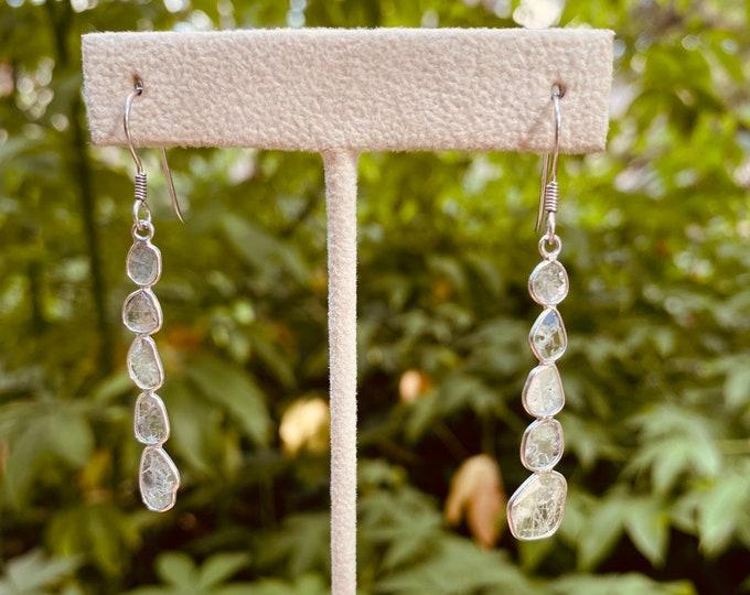 Diamond Slab Earrings in Silver