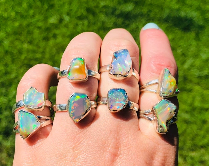 Rough Welo Opal • Rings sizes 5-9 • stering silver • gifts for her • unisex ring • rough ring