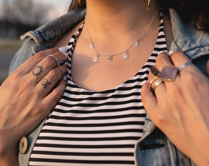 Peace Out Choker • sterling silver peace sign choker • silver peace necklace