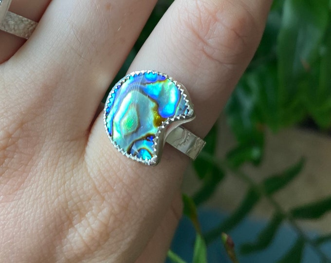 Abalone Moon Made to order silver ring