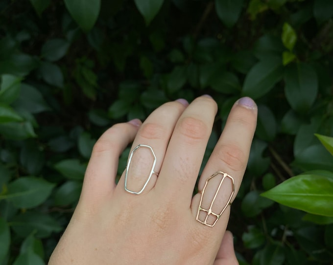 Coffin Hollow Ring In silver and Gold Fill • made you order