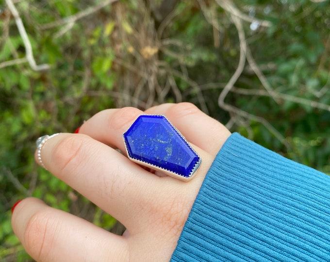 The Coffin Ring • Pyrite  Black Tourmaline Tigers Eye Labradorite Agate • Sterling silver Halloween ring