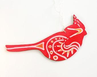 Ornament Hand Painted - Redbird Too Wood Tsalagi Cherokee Made