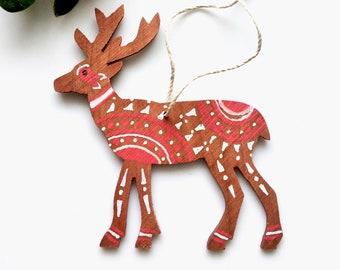 Ornament Hand Painted Wood - Deer Tsalagi Cherokee Made