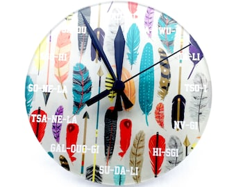 Clock Feathers & Arrows Cherokee Language Round Tsalagi Cherokee Designed