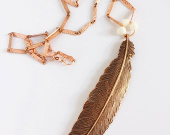 Three Worlds Feather Necklace Tsalagi Cherokee Made