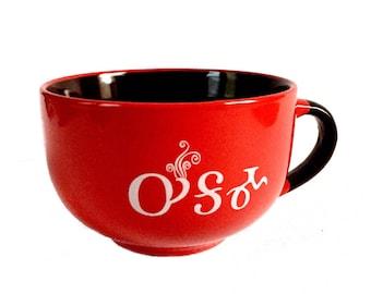 Mug Soup Oogama Bowl- Red and Brown Tsalagi Cherokee Designed
