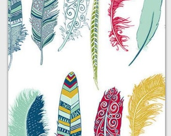 Card Feathers Blank  - Multi Tsalagi Cherokee Designed