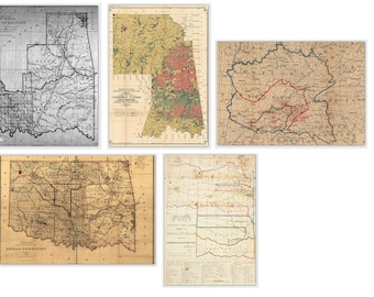 Card Set Cherokee Maps Blank Tsalagi Cherokee Designed