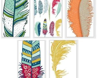 Card Set Blank Feathers Tsalagi Cherokee Designed