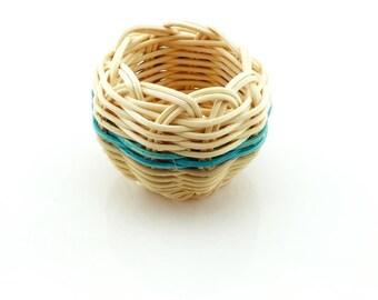 Basket woven Mini Cherokee Made - Turquoise Stripe Tsalagi