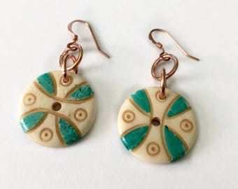 Four Winds Bone and Copper Button Earrings Tsalagi Cherokee Made