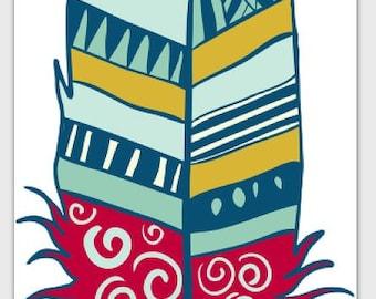 Card Feathers Blank - Red Swirl Tsalagi Cherokee Designed
