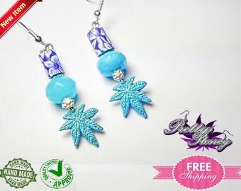 Marijuana Jewelry *Weed Jewelry Pot Leaf Jewelry Hawaiian Marijuana Earrings by Pretty Stoney Jewelry