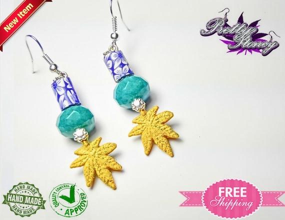 Marijuana Jewelry *Weed Jewelry Pot Leaf Jewelry Frosted Glass Marijuana Earrings by Pretty Stoney Jewelry