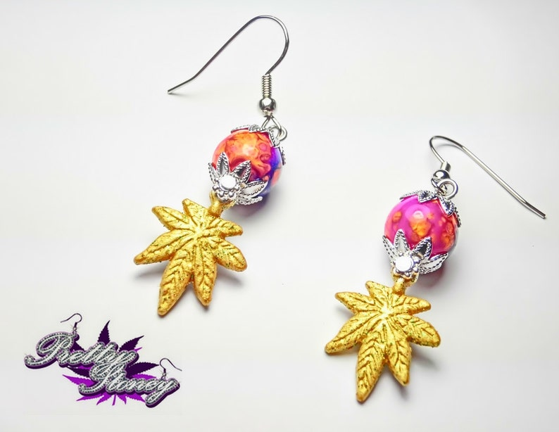 Marijuana Earrings by Pretty Stoney Jewelry *Marijuana Earrings *Cannabis Earrings *Weed Jewelry *Weed Earrings