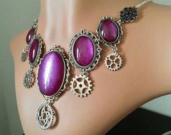 Steampunk necklace/Choker - plum gears