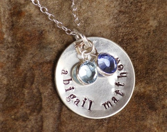 Hand stamped necklace charm with birthstones