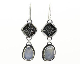 Blue Chalcedony Earrings, Gemstone Earrings, Dangle Earrings, Drop Earrings, Teardrop Earrings, Sterling Silver, Blue Earrings