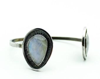 Rainbow Moonstone Bracelet, Gemstone Bracelet, Moonstone Cuff, Silver Bangle, Cuff Bracelet, Sterling Silver Bracelet, Moonstone Jewelry