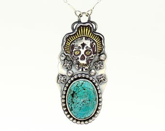 Sugar Skull Necklace, Turquoise Pendant, Turquoise Necklace, Silver Necklace, Day of the Dead Necklace, Gold Necklace, Dia De Los Muertos