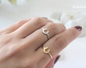 Horse Shoe Adjustable Ring in Gold / Silver.  Lucky Charm. Everyday Wear. Unisex Gift (PPRG- 18)