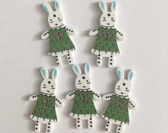 Bunny GREEN Wooden Buttons (20 buttons) 35mm Easter Crafting