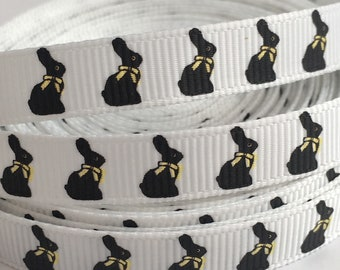 """3 Yards 3/8"""" (9mm) Chocolate Easter Bunny on White Grosgrain Ribbon"""