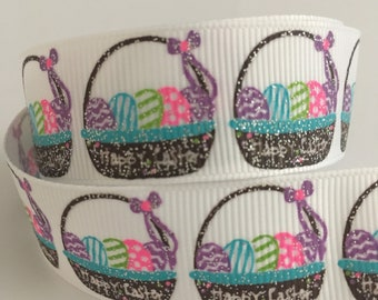 """7/8"""" (22mm) Easter Basket Eggs with Glitter - 1 Yard LIMITED EDITION"""