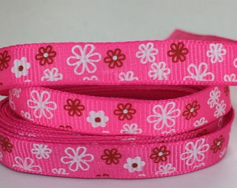 """3 Yards 3/8"""" (9mm) Red White Flowers on Pink Grosgrain Ribbon"""