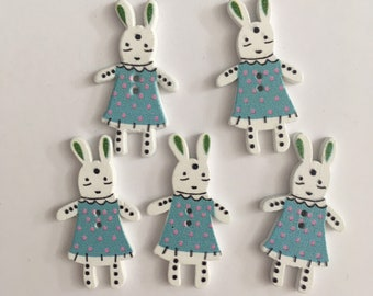Bunny BLUE Wooden Buttons (20 buttons) 35mm Easter Crafting