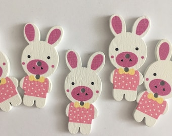 Easter Bunny Pink Wooden Buttons (5 buttons) 40mm height