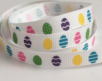 """3 Yards 3/8"""" (9mm) Colourful Easter Eggs on White Grosgrain Ribbon"""