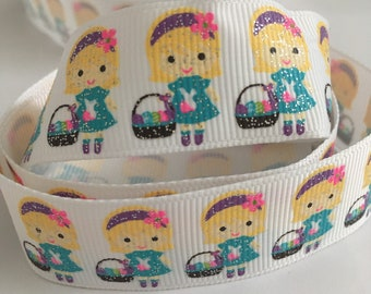 """7/8"""" (22mm) Easter Glitter Girl with Easter Basket - 1 Yard LIMITED EDITION"""