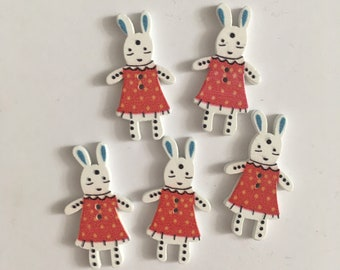 Bunny RED Wooden Buttons (20 buttons) 35mm Easter Crafting