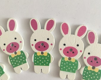 Easter Bunny Green Wooden Buttons (5 buttons) 40mm height