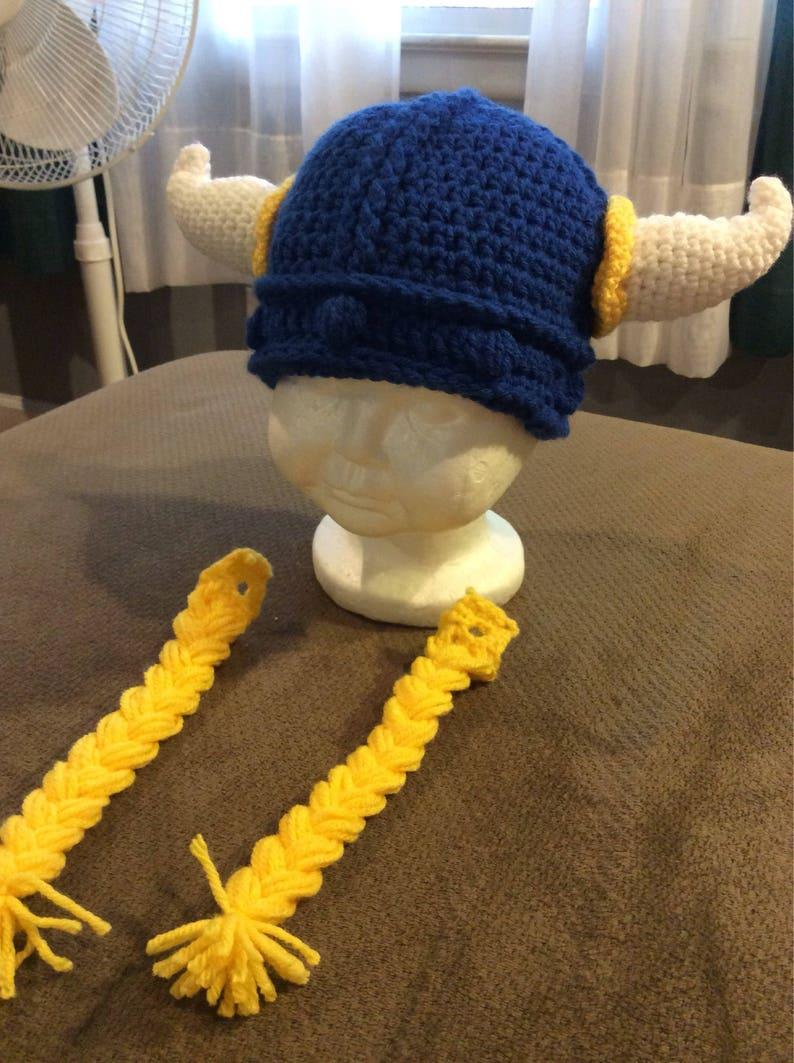 637f8857b School Spirit baby viking hat with removable beard or braids