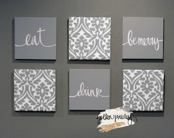 Dining Room Wall Art Set Eat Drink And Be Merry Wall Decor Etsy