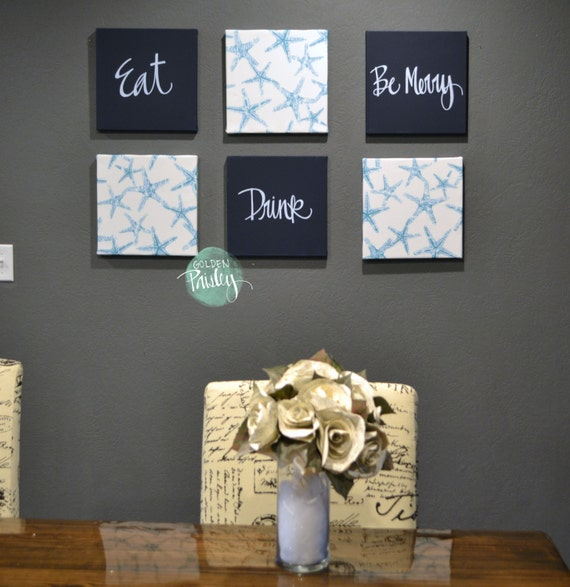 SALE Eat Drink Be Merry Blue Home Decor Wall Art 6 Pack