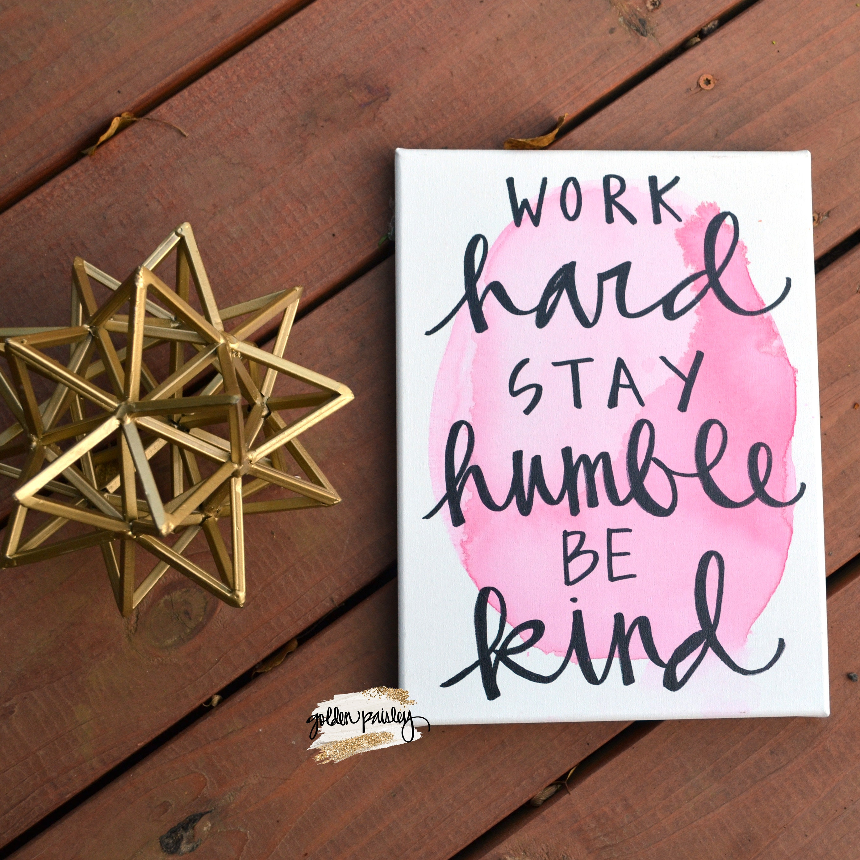 Inspirational Watercolor Quote Wall Art Canvas Wall Decor Sign Canvas Painting Home Office Pink Work Hard Stay Humble Canvas Quote Art Sign